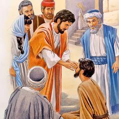 Jesus puts a paste on a blind man's eyes
