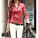 Women's Casual Stretchy Long Sleeve Regular Blouse ( Cotton Blends )