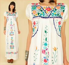 ViNtAgE 70's Floral Embroidered Handmade Maxi by hellhoundvintage