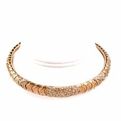 Estate Diamond 18K Gold Choker Cuff Necklace Item # 129603