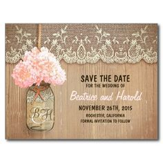Free stylish chalkboard save the date template enter info then get romantic mason jar pink flowers save the date announcement postcard solutioingenieria Images