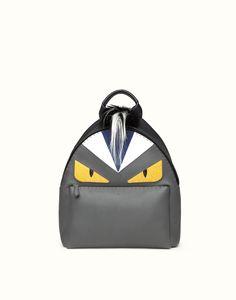 FENDI | ZAINO BAG BUGS in cuoio romano nero e grigio