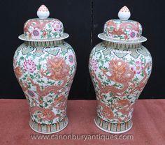 Pair Large Chinese Ming Porcelain Lidded Vases Urns Ginger Jars