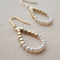 k14gf ultra-small pearl × Gold Drop Earrings