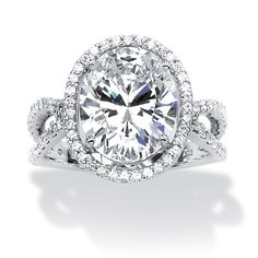 5.43 TCW Oval-Cut Cubic Zirconia Engagement/Anniversary Ring in Platinum Over Sterling Silver at PalmBeach