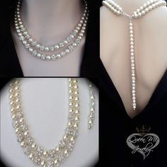 Pearl necklace ~ Brides necklace ~ 2 strand ~ Swarovski pearls, crystal rhinetones ~ Pearl necklace with backdrop ~ Wedding jewelry
