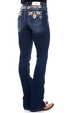 Miss Me Women's Dark Wash Sweet Feeling Embroidered Boot Cut Jeans Country Outfits, Casual Fall Outfits, Cowgirl Tuff Jeans, Cowgirl Boots, Cut Jeans, Jeans Fit, Kevlar Jeans, Junior Fashion, Blue Boots