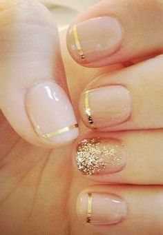 Nude nails with gold tips! -short nails -real nails - nail polish - sexy nails - pretty nails - painted nails - nail ideas - mani pedi - French manicure - sparkle nails -diy nails