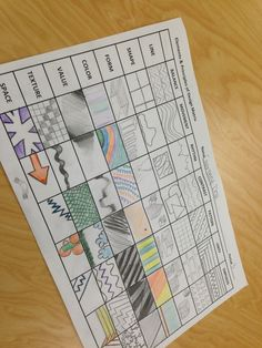 Design matrix handout idea. Great for project panning and theory, especially for juniors.