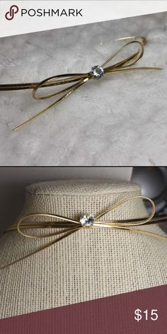 """Gold Bow Choker Gold Bow Choker with Rhinestone in center brand new length -14 1/2"""" Jewelry Necklaces"""
