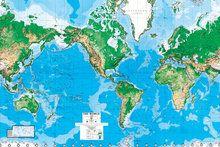 Wereldkaart behang natuurkundig