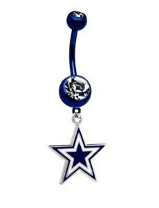 Dallas Cowboys NFL PREMIUM Dark Blue Titanium Anodized Sexy Belly Button Navel Ring: Jewelry: Amazon.com  $29.99