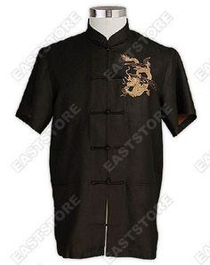 Mandarin collar.  Chinese treated button.  Short sleeves.  2 front pockets.  2 side slits.  Dragon embroidered.    Fabric: Silk Crepe.