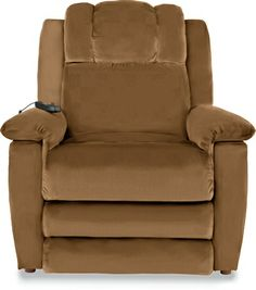 """Clayton LUXURY LIFT® Power Recliner 6-Motor Massage & Heat by La-Z-Boy with the Saddle colored performance fabric.  Buy my """"old man"""" chair before I get old!!!"""