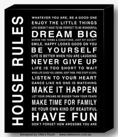 House Rules Canvas #olliesroom #decor #canvas #print      http://www.olliesroom.com.au/Family-Home-Designs-Canvas_c_83.html