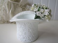 Vintage Daisy and Button Milk Glass Hat by mymilkglassshop on Etsy, $11.50