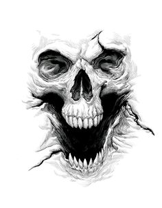 Skull Drawing – 75 Picture Ideas – Drawing Ideas and Tutorials Skull Tattoo Design, Skull Design, Skull Tattoos, Body Art Tattoos, Evil Skull Tattoo, Demon Tattoo, Yakuza Tattoo, Tattoo Designs, Tattoo Sketches