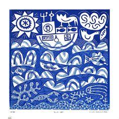 'Blue Sea' by German-born Scotland-based artist & printmaker Hilke MacIntyre (b.1964). Linocut, edition of 35, 30 x 30 cm. via the artist's site