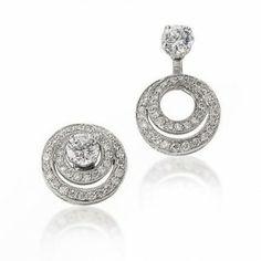 Gottlieb Sons 14K White Gold Diamond Double Hoop Convertible Earring Jackets