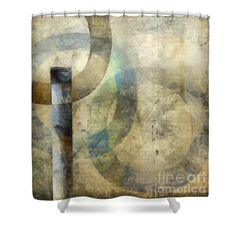 Abstract With Circles Shower Curtain by Edward Fielding