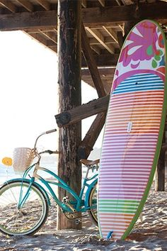 .bike and surfboard at the beach ☮ re-pinned by http://www.wfpblogs.com/author/southfloridah2o/