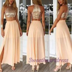 High neck two pieces prom dress, unique sparkly ball gown, 2016 handmade champagne chiffon side slit long evening dress for teens http://sweetheartdress.storenvy.com/products/14483520-elegant-two-pieces-sequins-round-neck-long-chiffon-prom-dress #promdress