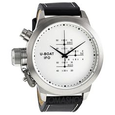 U-Boat IFO Nero Chronograph Silver Dial Black Leather Mens Watch. List price: $1650