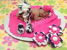 Little Girl in Zebra Print Outfit  /Edible Cake Topper by anafeke