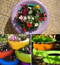 Клумбы для цветов из шин своими руками фото