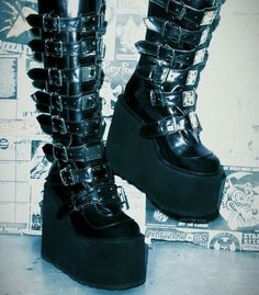 I'll step on your pretty face 🖤 ★ ☆ ★ ☆ Aesthetic Shoes, Aesthetic Fashion, Aesthetic Clothes, Pretty Shoes, Cute Shoes, Me Too Shoes, Emo Shoes, Alternative Outfits, Alternative Fashion