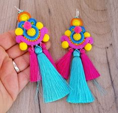 Colorful Tassel Earrings, Long Soutache Earrings, Pom Pom Earrings, Tassel Earrings with Pompoms, Soutache Earrings Beaded Tassel Earrings, Soutache Earrings, Tassel Jewelry, Big Earrings, Fabric Jewelry, Jewelry Crafts, Handmade Jewelry, Natural Accessories, Diy Necklace