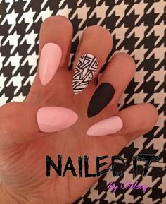 NAILED IT! - Hand painted false nails - Baby pink, matte black - white aztec stripe pattern! by NailedItByChelsey on Etsy https://www.etsy.com/listing/201698288/nailed-it-hand-painted-false-nails-baby
