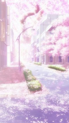 Empty street filled with cherry blossom Anime Backgrounds Wallpapers, Anime Scenery Wallpaper, Pretty Wallpapers, Couple Wallpaper, Kawaii Wallpaper, Pastel Wallpaper, Iphone Wallpaper, Trendy Wallpaper, Galaxy Wallpaper