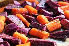 Roasted Purple Sweet Potatoes and Carrots