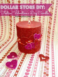 Dollar DIY: Valentine'€™s Day Decorative Candle #vday #valentinesday #frugal #diy