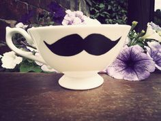 Mr Teacup's hand drawn moustache teacup Geeks only by MrTeacup, $29.00