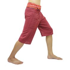 Scarlet Thai Fisherman Pants Short 3/4 with Thai hand woven fabric on waist side, Wide Leg pants, Wrap pants, Unisex pants   $22.00 Free shipping