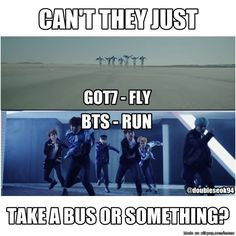 GOT7and BTS Because riding the bus is too mainstream