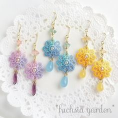 For sale on Japanese site. Tatting Necklace, Tatting Jewelry, Lace Earrings, Lace Jewelry, Crochet Earrings, Needle Tatting, Tatting Lace, Crochet Leaves, Crochet Flowers