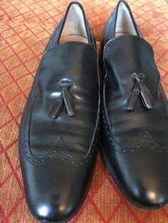 56acf219596 Salvatore Ferragamo Mens Dress Black Leather Tassle Loafers Shoes Sz 9 D   fashion  clothing