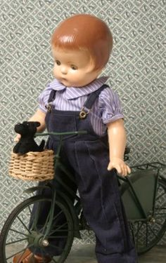 Love this doll and bike! Doll Toys, Baby Dolls, Effanbee Dolls, Ann Doll, Dollhouse Dolls, Miniature Dolls, Old Dolls, Vintage Dolls, Vintage Paper
