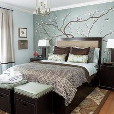 Bedroom Ideas. Fancy Sticker Wall Decal Feat Espresso Master Bed Frame Also White Shade Table Also Brown Bedroom Rugs In Small Space Light Blue Bedroom Ideas: Fancy Sticker Wall Decal Feat Espresso Master Bed Frame Also White Shade Table Also Brown Bedroom Rugs In Small Space Light Blue Bedroom Ideas