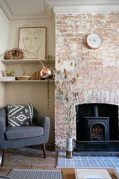 White-washed brick chimney breast, log-burner and alcove Home Fireplace, Living Room With Fireplace, Fireplace Design, Living Room Brick Wall, Brick Fireplace Log Burner, Update Brick Fireplace, Brick Room, Cottage Fireplace, Fireplace Modern