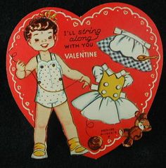 Vintage Valentine Card Paper Doll and Clothing Has not BEEN Punched Out | eBay