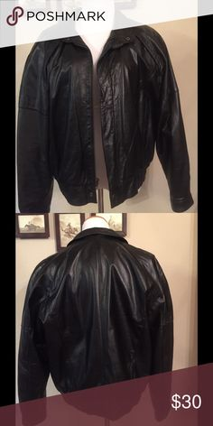 Vintage Ground Zero men's leather jacket Men's leather bomber jacket. Very soft leather.  Snap cuffs, exterior and interior pockets.  Like new! Jackets & Coats Bomber & Varsity
