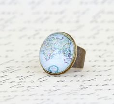 Cocktail Ring, Map Ring, Gift For Traveler, World Map, Map Jewelry, Gift For Woman, Spring Fashion