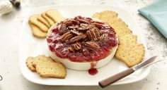 Baked #Brie with Cherry Preserves and Sweet Rosemary Pecans appetizer recipe