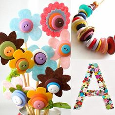 Looking for a Cool Easy Crafts For Kids. We have Cool Easy Crafts For Kids and the other about Play Kids it free. Crafts For Seniors, Easy Crafts For Kids, Cute Crafts, Crafts To Make, Button Art, Button Crafts, Arts And Crafts Projects, Diy Projects, Plastic Bottle Crafts