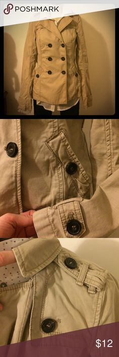 Abercrombie double breasted trench sz S Khaki jacket in Light  weight canvas twill. Missing belt at waist; reflected in price. Abercrombie & Fitch Jackets & Coats Trench Coats