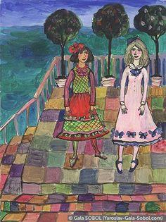 GALA SOBOL Girls on the balustrade. 2002. Paper, acrylic. 15,3x11,4 (6 x 4 1/2 in) // Дівчатка на балюстраді. 2002. Папір, акрил. 15,3x11,4